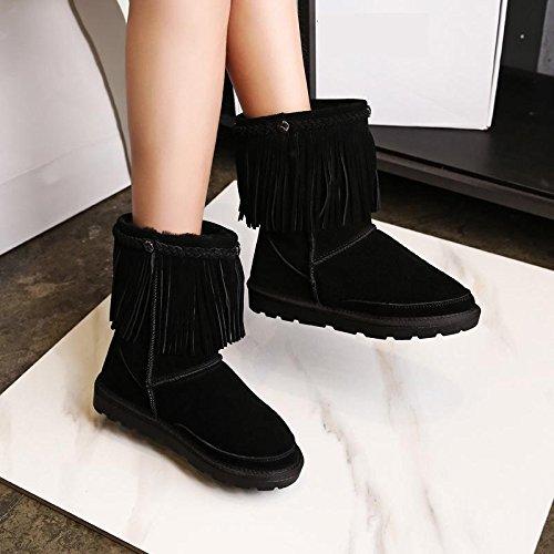 in scarponi donne delle stivali neve 36 spessore 120W da pelle BLACK nappa caldi di invernali NSXZ antiscivolo HOdq8wd