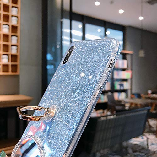 Cfrau Mirror Rabbit Case with Black Stylus for Samsung Galaxy S10,Luxury 3D Handmade Glitter Sparkle Crystal Rhinestone Diamond Stand Protective Case Compatible with Samsung Galaxy S10