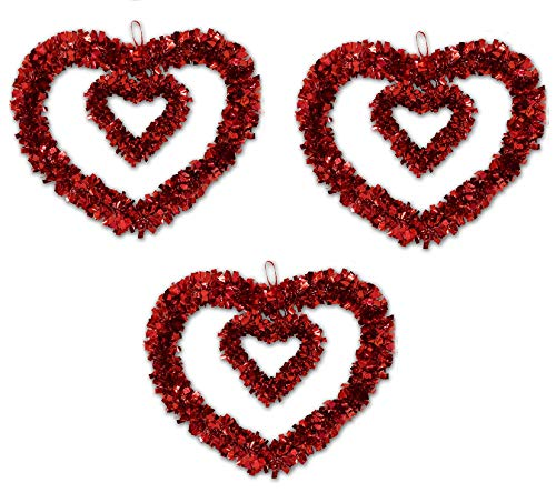 Valentines Wreath Decorations 3 Pack 12 inch Red Decor Heart Garlands Artificial Party Decorations for Kitchen Lawn & Patio Holiday Outdoor indoor Decor, Heart Shaped wedding Wreath by Gift Boutique -