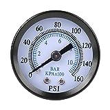 40mm Dia 0-160psi / 0-10bar Dual Scale Pneumatic & Hydraulic All Purpose Pressure Gauge Meter Manometer Gas Water Oil Pressure Tester Piezometer 1/8'NPT Brass Internal