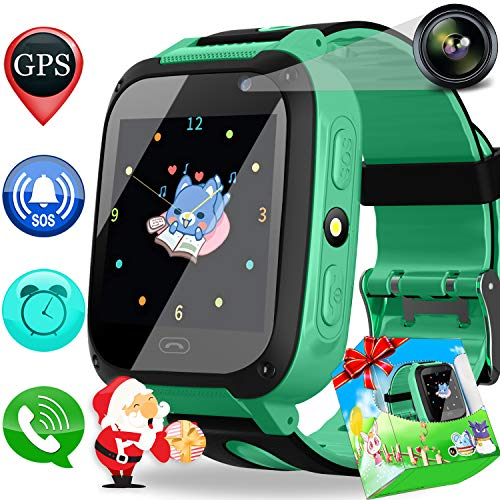 (Smart Watch Phone GPS Tracker for Kids Girls Boys with Cellphone SOS Anti-Lost Alarm Clock Camera 1.44