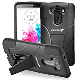 Fosmon® LG G3 (HYBO-V) Detachable Hybrid Dual Layer Case with Kick Stand for New LG G3 Smartphone - Fosmon Retail Packaging (Black)