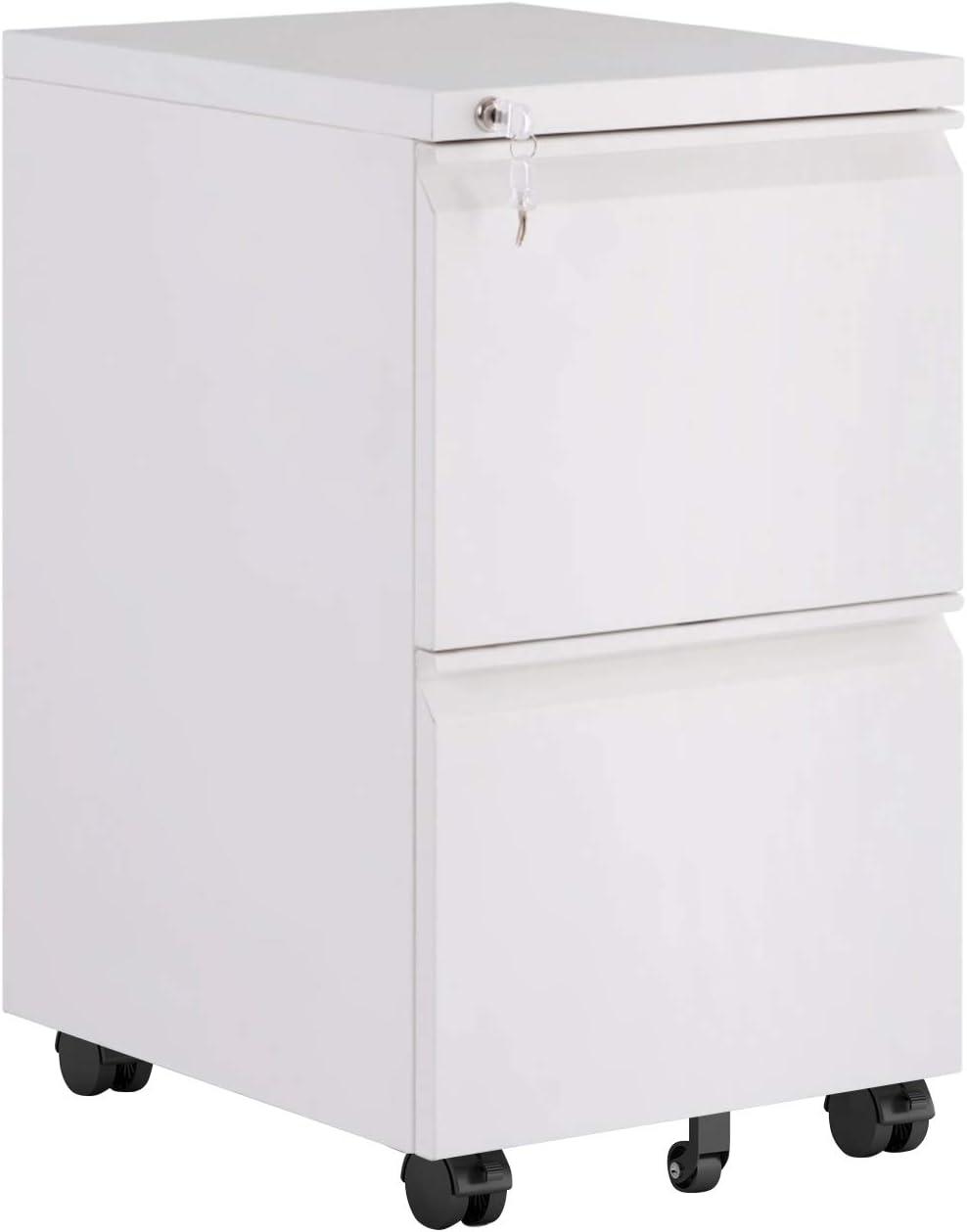 Merax (White) Mobile 2 Drawer Metal Pedestal Under Desk Filing Cabinets with Lock Key 5 Rolling Casters Home Office Modern Vertical Hanging Folders A4 Letter Size