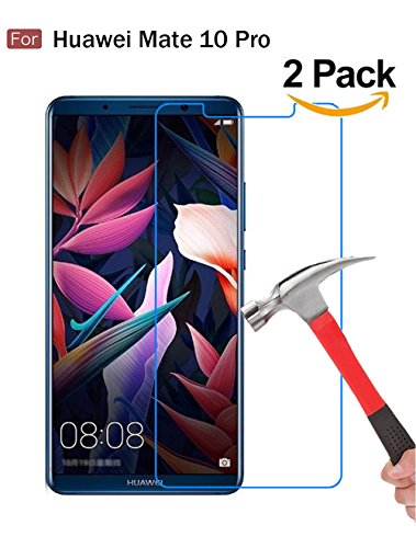 Huawei Mate 10 Pro Screen Protector, Wellci [ 2 Pack ] Tempered Glass Screen Protector for Huawei Mate 10 Pro (Ultra Clear)