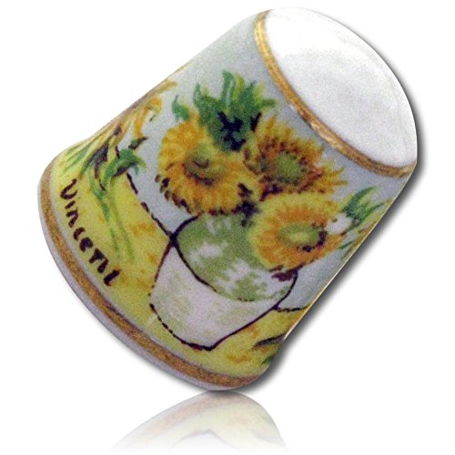 "Custom & Collectible {25mm Hgt. x 19mm Dia.} 2 Pack of, Mid-Size Sewing Thimble Made of Fine-Grade Porcelain Glass w/Collectible Vintage Art Lover's""Sunflowers"" Vincent Van Gogh Design {Multicolor} from mySimple Products"