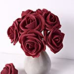 Febou-Artificial-Flowers-100pcs-Real-Touch-Artificial-Foam-Roses-Decoration-DIY-for-Wedding-Bridesmaid-Bridal-Bouquets-Centerpieces-Party-Decoration-Home-Display-Concise-Type-Dark-Red