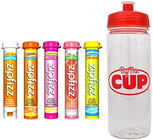 Zipfizz Energy Drink Mix Citrus Variety, 5 Caffeinated Flavors with By The Cup Sports Bottle ()