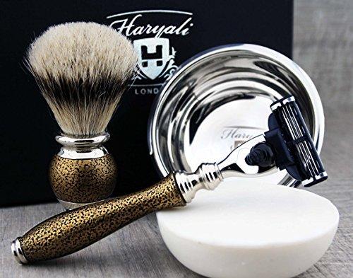Luxury Men's Shaving & Grooming Set >Top Grade Silver Tip Badger Brush, Gillette Mach3, Engraved Bowl & Soap| Free Alum