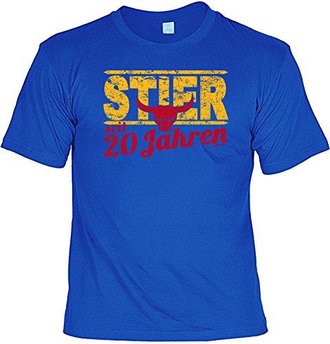 T-Shirt - Sternzeichen-Shirt Stier seit 20 Jahren - das besondere Shirt mit lustigem Print als ideales Geburtstagsgeschenk für junge Leute mit Humor