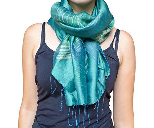 Unique Wrappable Silk Scarf. Handmade Blue Silk Scarves Wrap