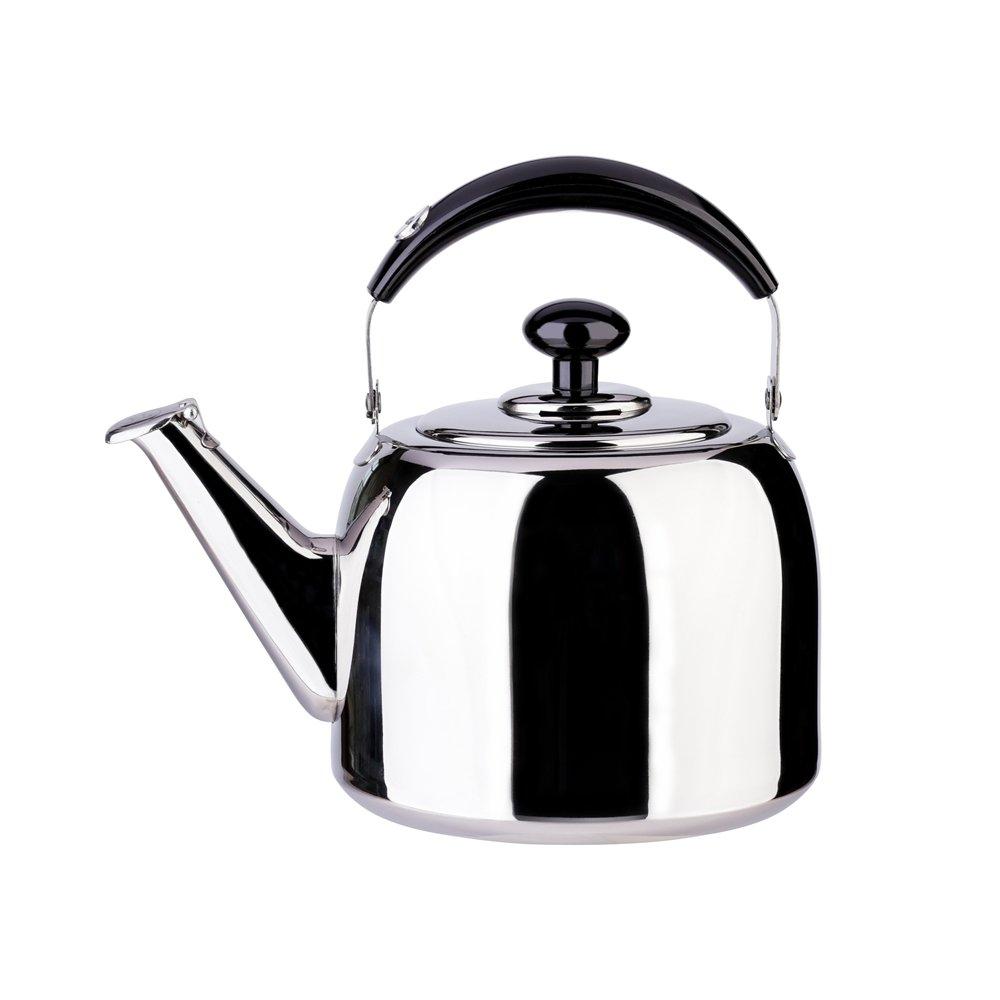 AlwaysU Tea Kettle Whistle for Stovetop 18/10 Stainless Steel Mirror Finish Surface, Bakelite Handle Fast Boiling GSH 3 Quart