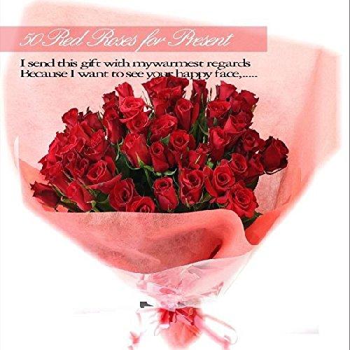 [ビズフラワー]国産バラ50本花束 【色=赤】 B01KWX8VCI  赤