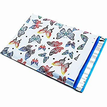 Amazon.com : 10x13 (100) Butterfly Designer Poly Mailers Shipping ...