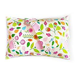 Maddie Moo Flower Toddler Pillowcases, Fits 13x18 and 14x19 Toddler and Travel Pillows, 100% Cotton, Set Of 2