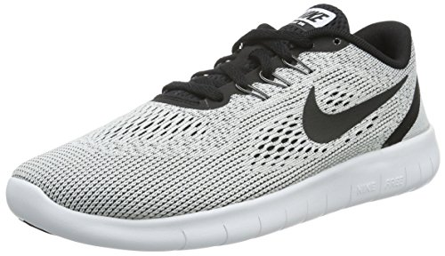Nike Youth Free RN Running Shoes-White/Black-5