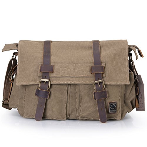 Messenger Bag,Bienna Vintage Military Canvas Satchel Laptop Over Shoulder Crossbody Sling Bag Handbag Side Bags Purse with Leather Straps for Men Women School Outdoor Sports EDC 15