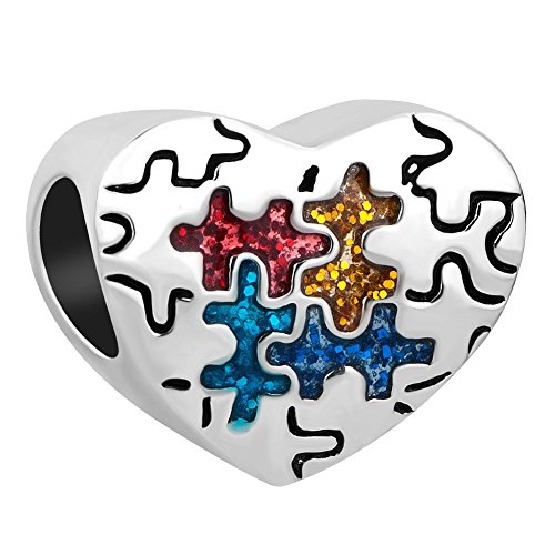 eness Puzzle Piece Heart Charm Beads for Charm Bracelets ()
