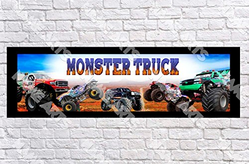 Personalized / Customized Monster Trucks Name Poster with Border Mat- Home Wall Decor Birthday Party Door Banner - Monster Truck Wall Border