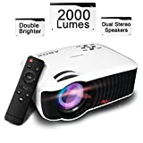 Projector, Globmall 2000 Lumens LCD Mini Projector, ABox Portable Projector, Dual Stereo Speaker, 1080p HD Home Theater Video, Support HDMI/USB/SD Card/VGA/AV for Home Cinema PC Laptop Smartphone
