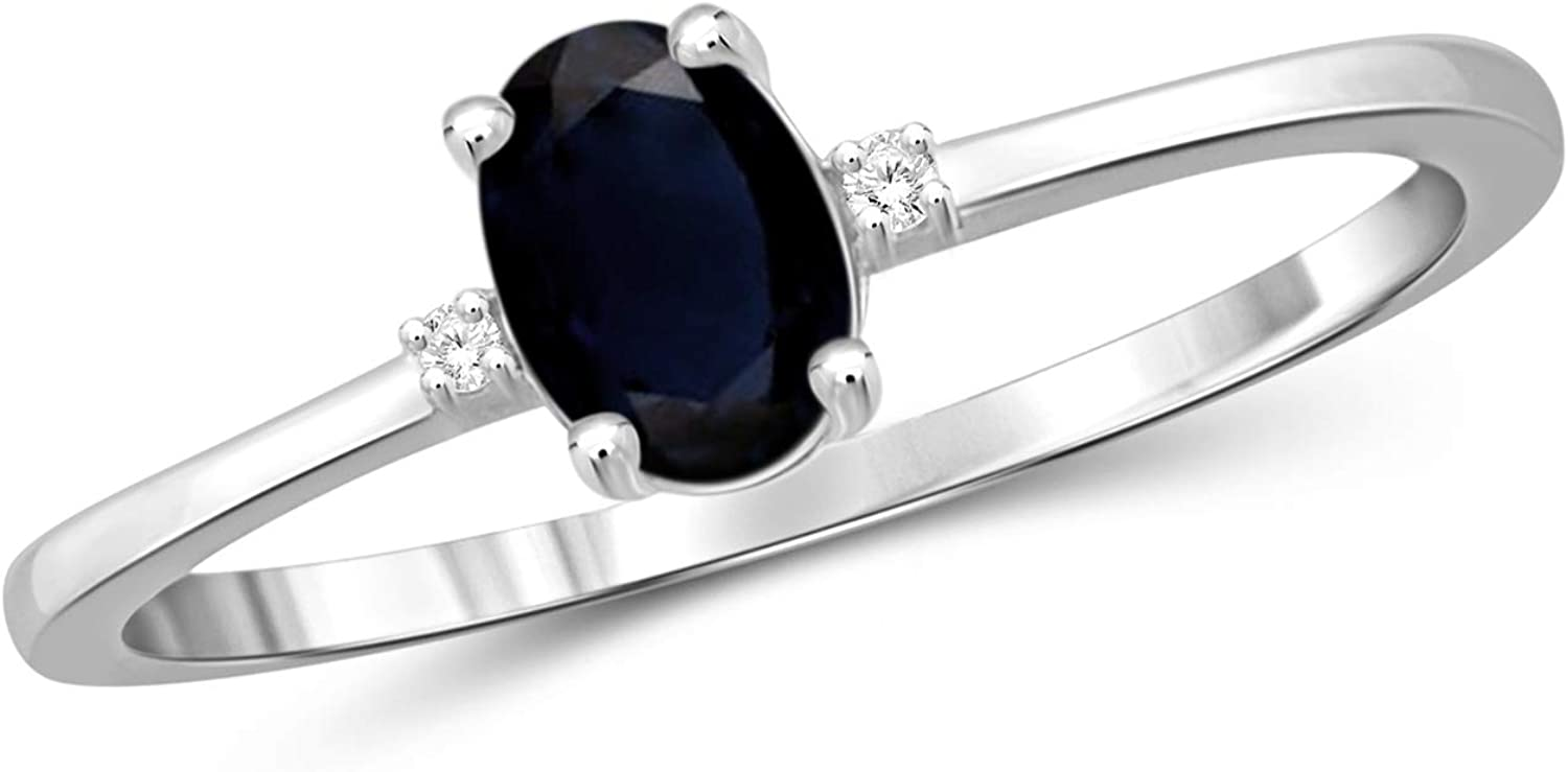 Amazon Com Jewelexcess 0 60 Carat T G W Sapphire And White Diamond Accent Sterling Silver Ring Jewelry