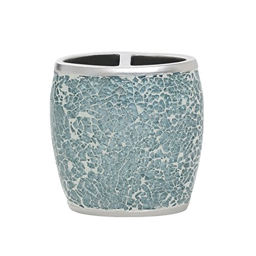 Glass Cracked Brush - Zenna Home, India Ink Number 9 Floral Toothbrush Holder, Aqua