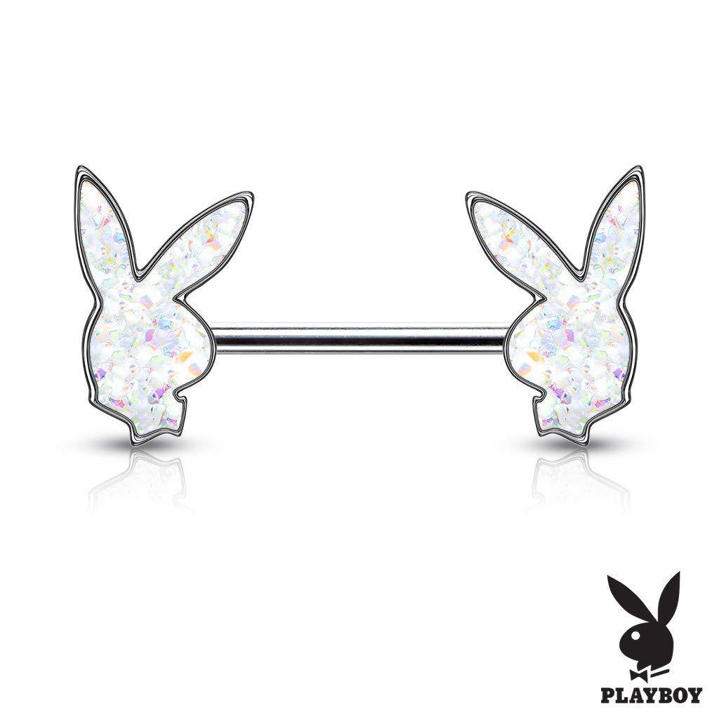 Pair of Dynamique Druzy Stone Filled Playboy Bunny Ends 316L Surgical Steel Barbell Nipple Rings