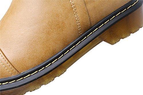 Zapatos planos de punta redonda, con hebilla clásica, para mujer, de Smilun marrón