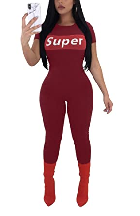 6ce4e9b35367 Amazon.com  Felicity Young Women s Casual Short Sleeve Round Neck Bodycon Long  Jumpsuit Romper Pants Clubwear Playsuit Graphic Tracksuit  Clothing