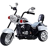 GetBest 3 Wheel Speedy Kids Battery Operated Ride on Bike with Tail Light, White