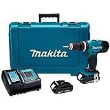 """Makita DHP453SYE Combo Rotomartillo Atornillador 1/2"""" V.V.R, 2 Velocidades 0-400/0-1500 Rpm y Cargador con Freno Maletín, 18V, color Verde Agua"""