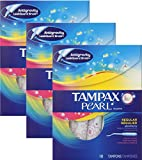Tampax Pearl Plastic Fresh Scent Tampons, Regular Absorbency, 3 Packs of 18 Tampons, 54 Count Total