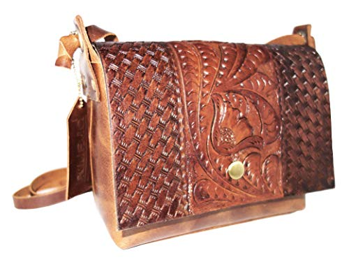 - Genuine Leather Crossbody Bag for Women, Vintage Purse, Hand Tooled and Handmade (Brown)