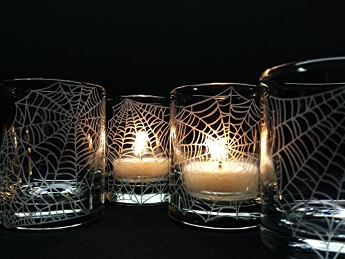 Engraved 'Webs' Clear Glass Votive Candle Holders Set of 4