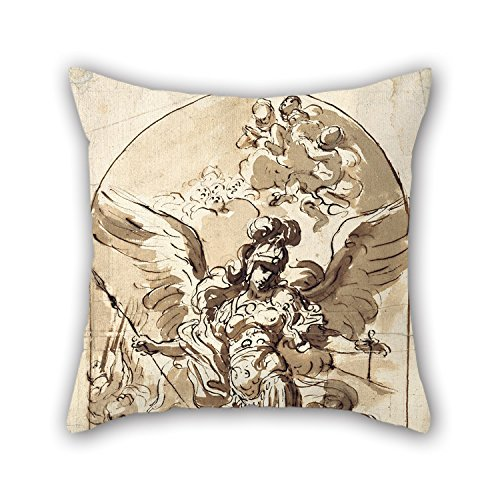 Rdkekxoel The Oil Painting Girolamo Troppa - The Archangel Michael Throw Cushion Covers of 20 X 20 Inches/Decoration Gift for Girls Club Dinning Room Husband Valentine Sofa