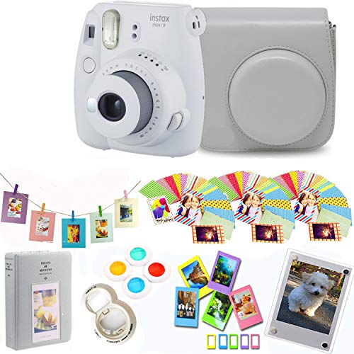 Fujifilm Instax Mini 9 – Smokey White Instant Camera + Protective Case + Magnetic Acrylic Frame+Album, Hanging Frames, Desk Frames, Filters & Selfie Lens 90 PC Design Kit