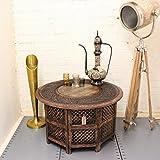 Maravi Large 30 Indian Hand Carved Coffee Table Aluminium Inlay Mango Wood Living Room Gift