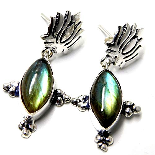 Labradorite Gemstone Jewelry 925 Sterling Silver Plated Stud Earrings 7 -