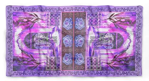 Phagun Purple Elephant Mughal Pure Silk PrintedScarfRectangular Head Wrap HijabScarfStole ()