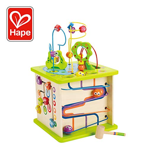 Country Critters Wooden Activity Play Cube by Hape | Wooden Learning Puzzle Toy for Toddlers 5Sided Activity Center with Animal Friends Shapes Mazes Wooden Balls Shape Sorter Blocks and More