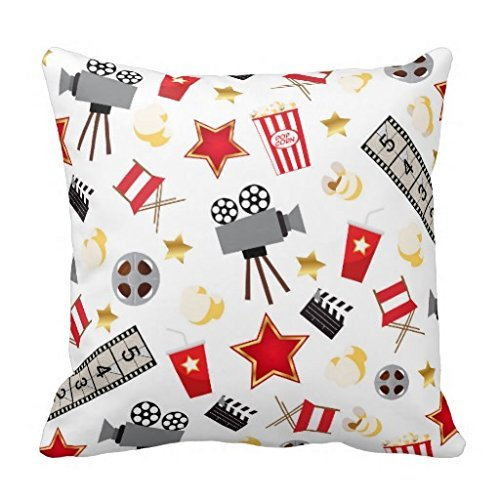 16 x 16 3dRose pc/_222695/_1 The Word Movie with Popcorn and Soda Illustration in Red White and Gray Pillow Case