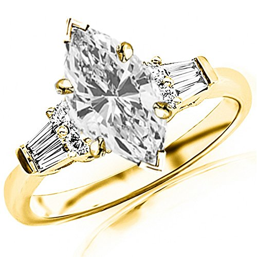 (1.1 Carat t.w. GIA Certified Marquise Cut 14K Yellow Gold Prong Set Round and Baguette Diamond Engagement Ring (I-J Color VS1-VS2 Clarity Center Stones))
