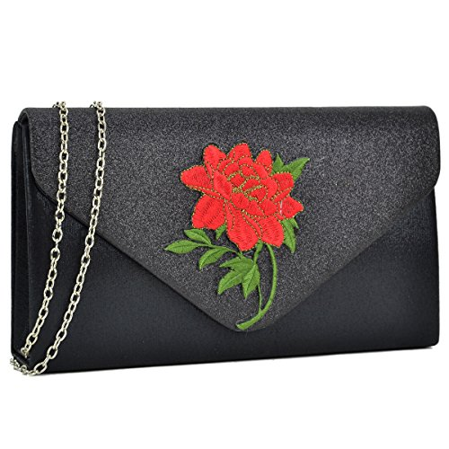 Crossbody New Flower Women Clutch Party Black Bags DASEIN Evening Handbags Prom Ehd7158 Bags Clutches Wedding Purse qYTZBp
