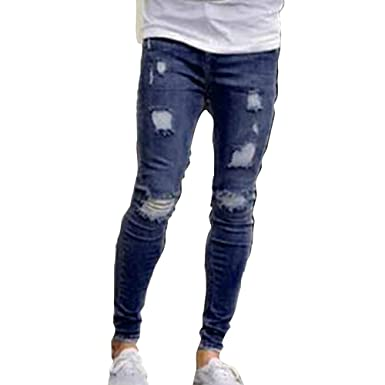 ba87a24fb0a Hibote Plus Size Jeans Men Retro Slim Fit Ripped Jeans with Pockets Fashion  Solid Stretch Skinny Denim Pants Pencil Trousers Bottoms  Amazon.co.uk   Clothing