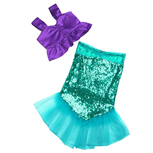TiaoBug 2Pcs Girls Bikini Top & Sequins Mermaid Tails Skirt Party Costume Swimwear Outfits Purple&Green (Teenage Mermaid Halloween Costumes)