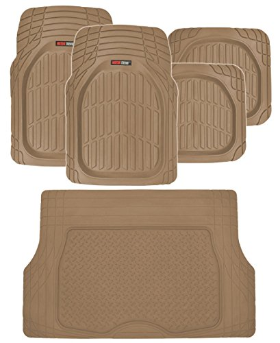 Motor Trend FlexTough Deep Dish Heavy Duty Rubber Floor Mats & Cargo Liner All Weather (Beige) - Complete Coverage Set