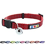 PAWTITAS Reflective Cat Collar with Safety Buckle and Removable Bell Cat Collar Kitten Collar Red Cat Collar