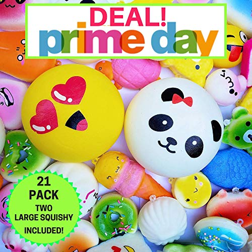 20pc Pack Of Squishy Toys, Plus Bonus Large Squishy For 21 Slow Rising Squishys! Jumbo, Medium & Mini Squishy Stress Toys. Best Cute Squishies Gift For Boys and Girls -