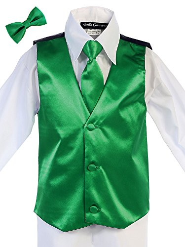 Bello Giovane Boys Satin Hand Made Long Tie & Vest Set (Free Bow Tie) (6, Emerald)