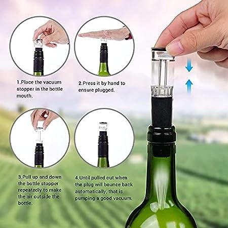 YSNJG Abridor de Botellas eléctricas, abrelatas de Vino Recargable, Accesorios de Vino de sacacorchos eléctricos Profesionales con Cortador de lámina, tapón de vacío, Verter y Cable de Cargador USB