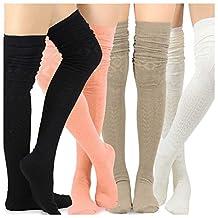 Teehee Women's Fashion Extra Long Cotton Thigh High Socks - 4 Pair Pack